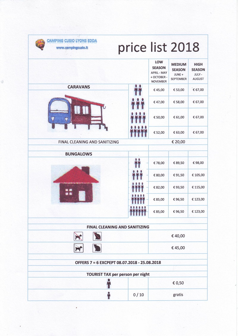 Price list for caravan and bungalow